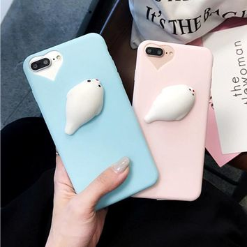Candy Colors Phone Cases for iPhone 7 6 6s Plus Cover 3D Cute Soft Pappy Pressure Release Squishy Squeeze Seal Case Animal Coque