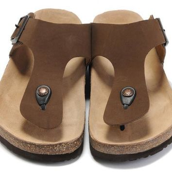 Birkenstock Leather Cork Flats Shoes Women Men Casual Sandals Shoes Soft Footbed Slippers-181