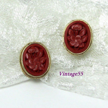 Carved Cinnabar Earrings Silver Vermeil clip on