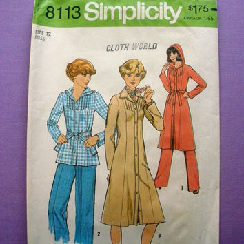 1970's Hoodie Dress, Top, Pants, Misses' Size 12 Bust 34 Simplicity 8113 Sewing Pattern Uncut