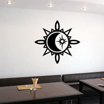 WALL VINYL STICKER DECALS ART MURAL SUN AND MOON DUET SIGN K693