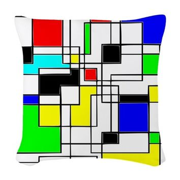 RANDOM SQUARES HOMAGE TO MONDR WOVEN THROW PILLOW