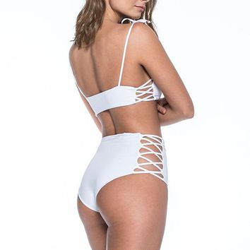 MALAI Cape White High Waist Bottom
