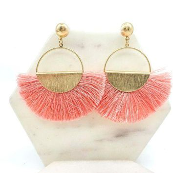 Fan Tassel Post Earrings