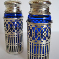 Cobalt Blue Salt and Pepper Shakers Gothic by ToucheVintage