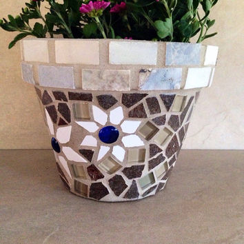 Mosaic tile planter, terracotta planter, flower pot, garden art, outdoor planter, kitchen storage pots, handmade garden pot, patio container