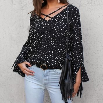 Women Casual Fashion Polka Dots V-Neck Long Sleeve Chiffon Shirt Tops