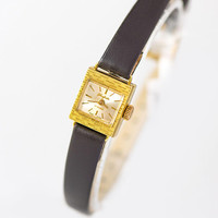 Glashutte GUB women cocktail watch vintage. Gold plated women watch square. Classic lady watch. Evening watch gift New premium leather strap