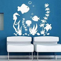 Fish Wall Decal Kids Decals Vinyl Bathroom Stickers Shower Art Baby Nautical Nursery Bedroom Home Decor Art Murals MN976
