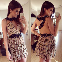 Pleated Transparent Polka Dot Short Dress