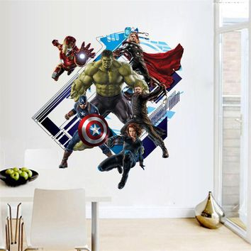 3d Avenger Wall Sticker Baby Kids Room Stickers Cartoon Decals Home Decor Wallpaper Poster Y007 Home Decoration Nursery Art