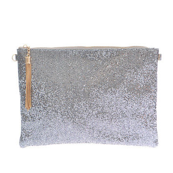 Insta Glam Metallic Clutch - Silver
