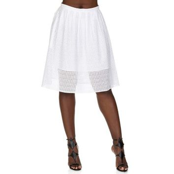 Michael Kors White Broderie Skirt