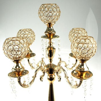 Candelabra Crystal Globe Centerpiece, 5 Arm, 28-inch, Gold