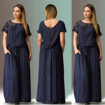 Women Casual Short Sleeve Loose Fitting Evening Party Long Maxi Dress