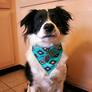 Handmade Dog Bandana with Space for Tags - Southwestern Teal Turquoise Unisex Dog Bandana Over the Collar Velcro Tag Slot Pet Accessories