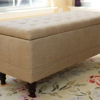 Home Life Lift Top Storage Bench with Tufted Accents Beige Fabric