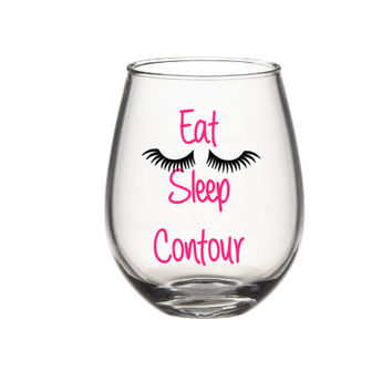 Eat Sleep Contour Wine Glass, Make Up Artist Wine Glass, Personalized Wine Glass, Funny Wine Glass, Cute Wine Glass