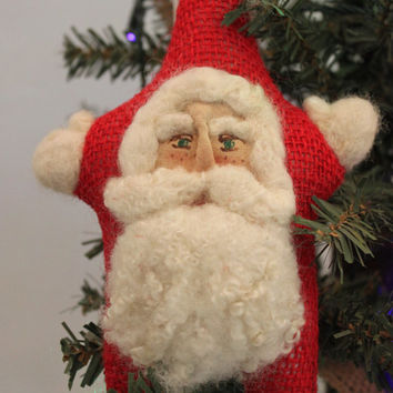 Needle Felted, Red Burlap Star Santa Ornament