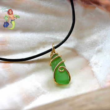 Sea Glass Jewelry from Hawaii - Sea Glass Necklace for Men - Gypsy Seaglass Wire Wrap Pendant - Gypsy Boho Jewelry - Leather Jewelry for Men