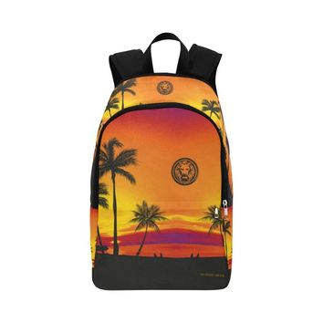 Tropical Black Palm Trees Adult Backpack