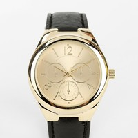 Triple-Dial Leather Watch - Urban Outfitters
