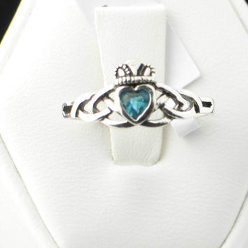 Sterling Silver Aqua CZ Claddagh Irish Celtic Ring Sizes: 3 4 5 6 7 8 9