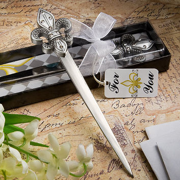 1 Fleur de Lis Letter Opener Wedding Gift Favor Party Birthday Reception French France Parisian New Orleans Paris Stationery Present Royalty