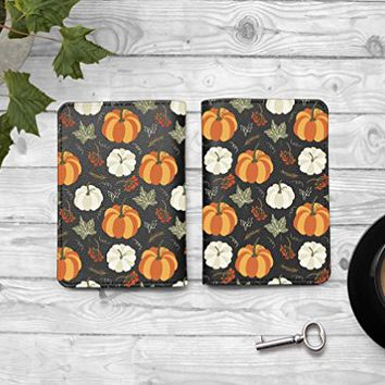 Autumn Leaves Passport Holder -Leather Passport Cover - Vintage Passport Wallet - Travel Accessory Gift - Travel Wallet for Women and Men_LOKISHOP