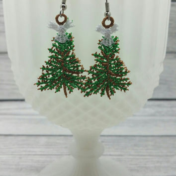 Christmas tree with angel free standing lace embroidered earrings, wire earrings, dangling earring, jewelry, accessories, holiday, winter
