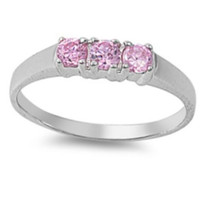 Sterling Silver Pink Topaz CZ Three Stone Ring Size 1-5