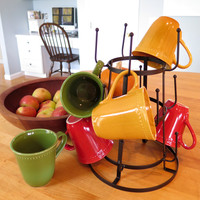 Evelots Vintage Mug Drying Stand, Metal Cup & Mug Rack Dryer,Kitchen Accessories
