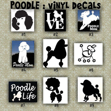 "LARGE 10-14"" - POODLES vinyl decals - 1-27 - car decal -poodle stickers - car sticker - laptop decal"