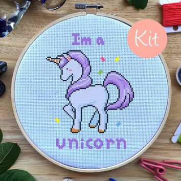 Purple Unicorn Geeky Cross Stitch Kit, I'm A Unicorn Quote