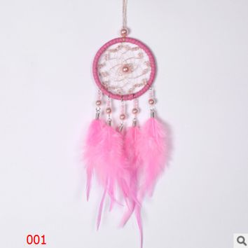 Creative high-grade crystal beads Pearl dream catcher car pendant Girls' hearts Pink white dream catcher ornaments