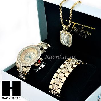 TECHNO PAVE ICED OUT 14K GOLD TONE LAB DIAMOND WATCH BRACELET NECKLACE SET SW203