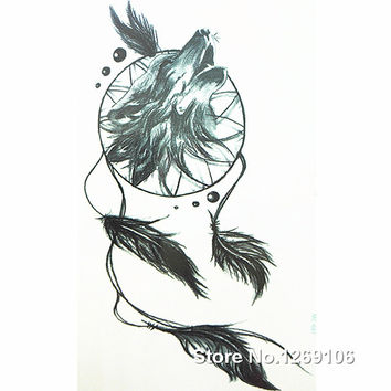 2016 New Design Wolf and Dreamcatcher 19x12cm Waterproof Temporary Tattoo Stickers