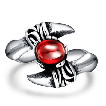 Men Ring Paw Red Gemstone Rock Ring Jewelry
