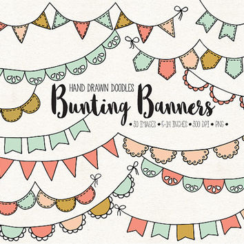 ON SALE. Hand Drawn Bunting Clip Art. Doodle Bunting Banners. Digital Garland Clipart. Birthday Bunting, Wedding Banner in Mint, Pink, Peach