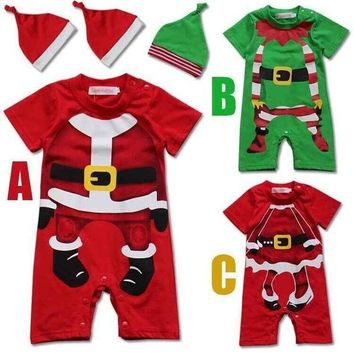 PEAPUNT 2016 christmas new boys and girls infant baby romper cotton short sleeved Christmas style Leotard