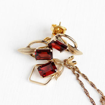 Vintage 14k Rosy Yellow Gold Filled Garnet Pendant Necklace & Pierced Earring Set - Retro 1970s Genuine Red Gems 3 CTW Van Dell Jewelry