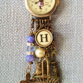 Vintage Holly Hobbie Watch Necklace, Charm Necklace, Old Fashioned Theme Jewelry, Enjoy Today Watch, Typewriter Key H, Charms and Blue Beads
