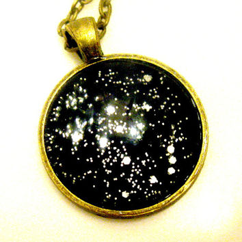 Galaxy Necklace Outer Space Jewelry Planet Pendant Black & Silver Glass Glitter Galaxy Necklace Science Astronomy Astrology Constellation
