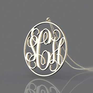 Cut style 3 initial monogram necklace plated in gold 1.25 inch or 1.5 inch or 1 inch necklace