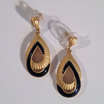 Signed Trifari Earrings Black Enamel Matte Gold Teardrop Pierced Vintage Jewelry Accessories - FREE SHIPPING