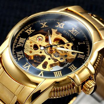 Winner Gold Antique Automatic Skeleton Mechanical Watch