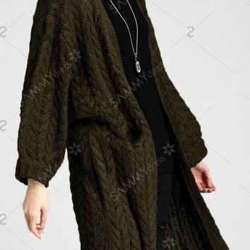 Cable Knit Longline Cardigan - Army Green - ONE SIZE