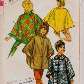 "Vintage 1966 Set of Ponchos Sewing Pattern, Simplicity 6651, Size Large Bust 38"" - 40"" (97-101), Free US Shipping"