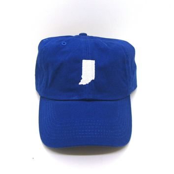 Indiana Hat - Classic Dad Hat - White and Blue - All States Available