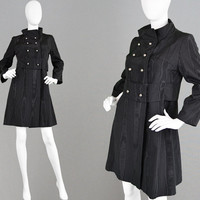 Vintage 60s Black Moire Coat 60s Mod Coat A Line Coat Watered Taffeta Evening Classic Black Coat 1960s Mini Coat Faille Fabric Rain Coat